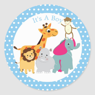 Whimsy Zoo Animals Cute Boys Baby Shower Classic Round Sticker