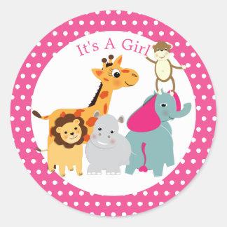 Whimsy Zoo Animals Cute Girls Baby Shower Classic Round Sticker