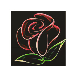 "Whimzy Red Rose 8""x8"" Wood Photo Print"