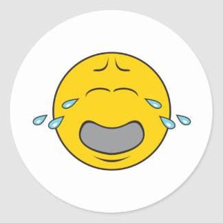 Whining Crying Smiley Face Round Sticker