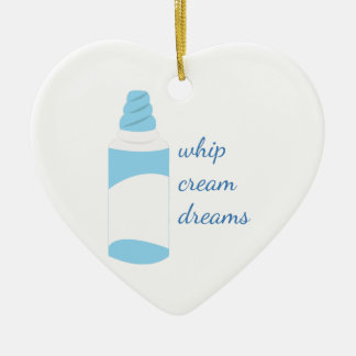 Whip Cream Dreams Double-Sided Heart Ceramic Christmas Ornament