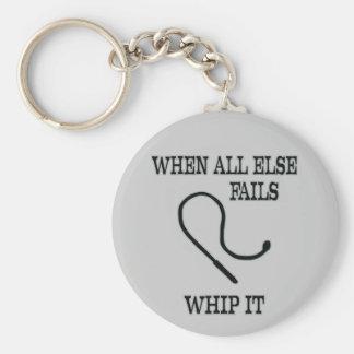 Whip it basic round button keychain