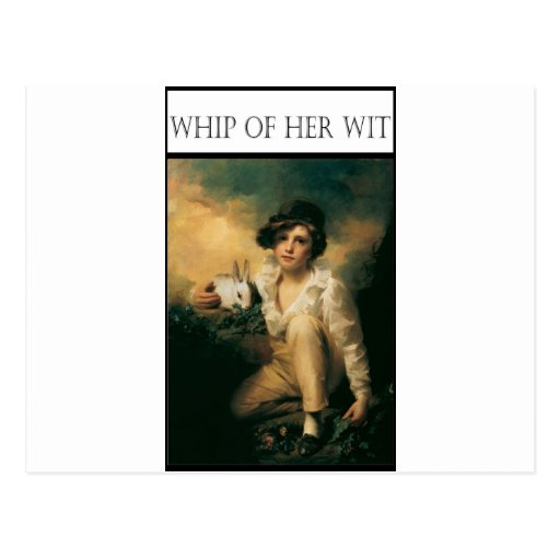 WHIP OF HER WIT -Child with rabbit Postcards