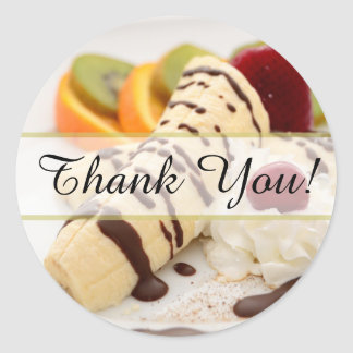 Whipped Cream and Banana Dessert Thank You Round Sticker