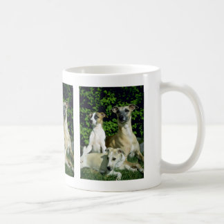 Whippet and pups coffee mug