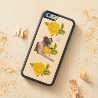 Whippet and Yellow Roses Maple iPhone 6 Bumper