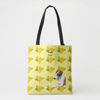 Whippet and Yellow Roses [Med] Tote Bag