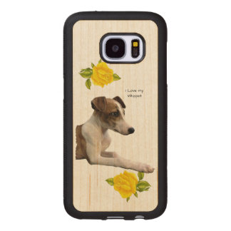 Whippet and Yellow Roses Wood Samsung Galaxy S7 Case