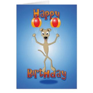 whippet - balloons - happy birthday card