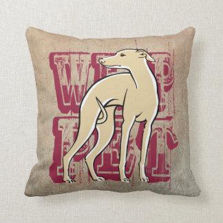Whippet bordeau throw pillow