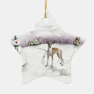 Whippet Christmas ornament