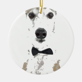 whippet cut out design in bow tie ceramic ornament