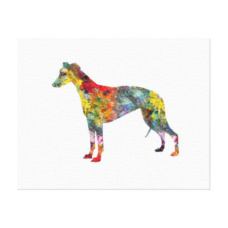 Whippet Dog Silhouette Hound Art Fun Oil Painting Canvas Print