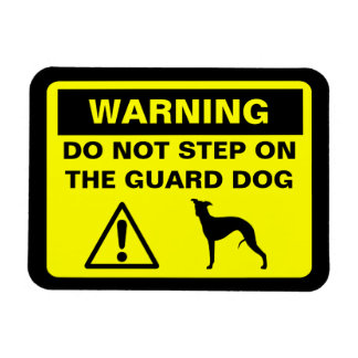 Whippet Guard Dog Warning Rectangular Photo Magnet
