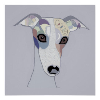 Whippet in Denim Colors Poster