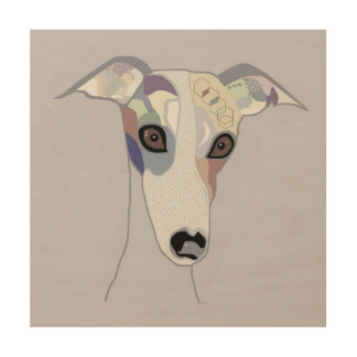 Whippet in Denim Colors Wood Wall Art