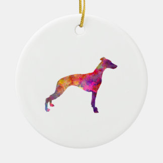 Whippet in watercolor ceramic ornament