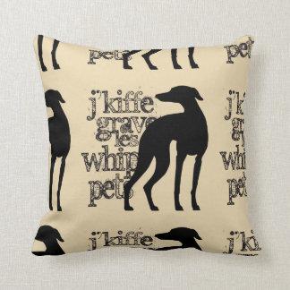 Whippet Kiffé (black) Throw Pillow