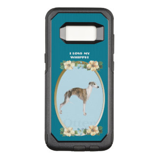 Whippet on Teal Floral OtterBox Commuter Samsung Galaxy S8 Case