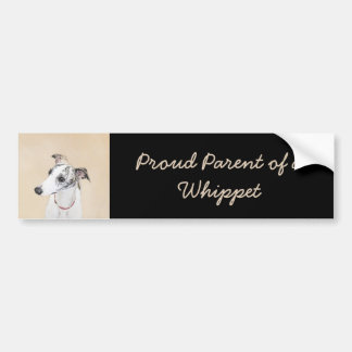 Whippet Painting - Cute Original Dog Art Bumper Sticker
