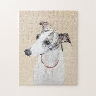 Whippet Painting - Cute Original Dog Art Jigsaw Puzzle