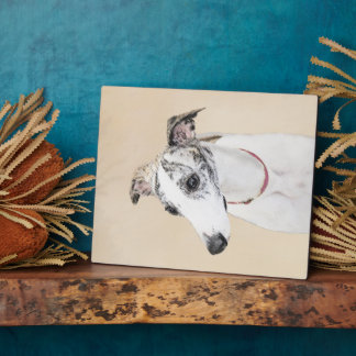 Whippet Painting - Cute Original Dog Art Plaque