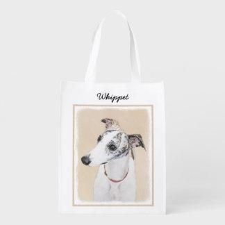 Whippet Painting - Cute Original Dog Art Reusable Grocery Bag