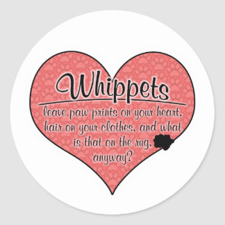 Whippet Paw Prints Dog Humor Round Sticker