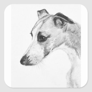 Whippet Profile Square Sticker