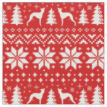 Whippet Silhouettes Christmas Pattern Red Fabric