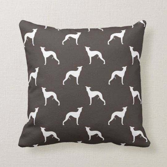 Whippet Silhouettes Pattern Throw Pillow