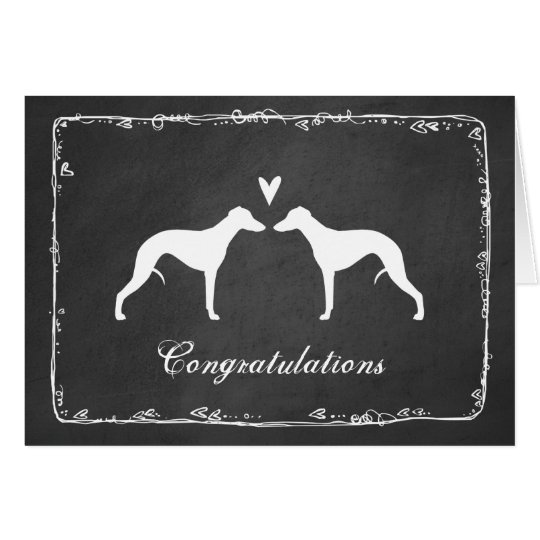 Whippet Silhouettes Wedding Congratulations Card
