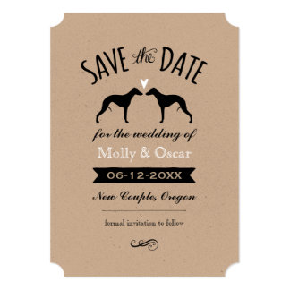 Whippet Silhouettes Wedding Save the Date Card