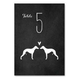 Whippet Silhouettes Wedding Table Card