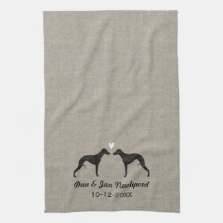 Whippet Silhouettes with Heart and Text Kitchen Towel