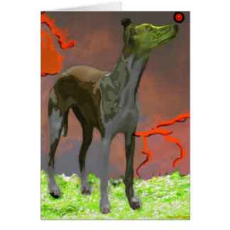 Whippet with Red Sphere 1- Greeting Card
