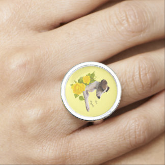 Whippet with Yellow Roses Photo Rings