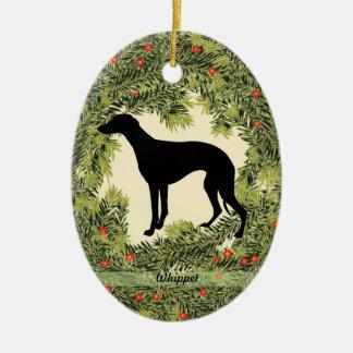 Whippet Wreath Ceramic Ornament
