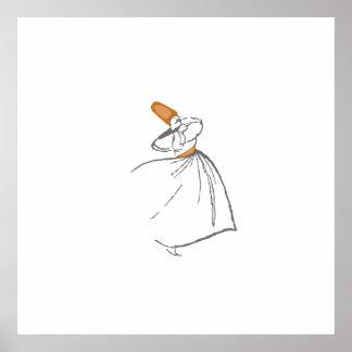 Whirling Dervish - burnt orange Poster