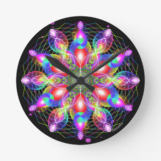 Whirling Rainbow Woman Round Clock