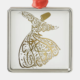 Whirling Sufi Dervish Silver-Colored Square Ornament