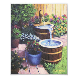 Whiskey Barrels Fountain Photo Print