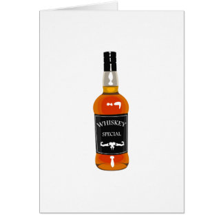 Whiskey Bottle Drawing Isolated On White Backgroun Card