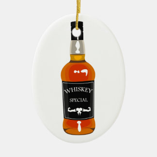 Whiskey Bottle Drawing Isolated On White Backgroun Ceramic Ornament