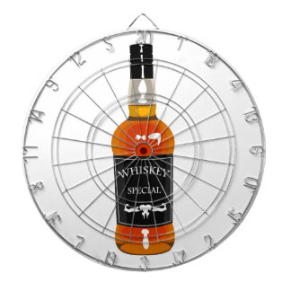 Whiskey Bottle Drawing Isolated On White Backgroun Dartboard