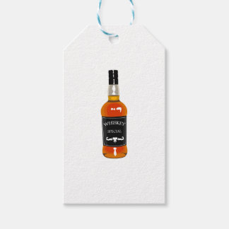 Whiskey Bottle Drawing Isolated On White Backgroun Gift Tags