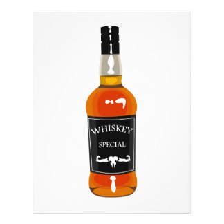 Whiskey Bottle Drawing Isolated On White Backgroun Letterhead