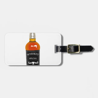 Whiskey Bottle Drawing Isolated On White Backgroun Luggage Tag