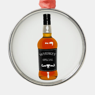 Whiskey Bottle Drawing Isolated On White Backgroun Metal Ornament