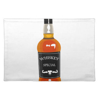 Whiskey Bottle Drawing Isolated On White Backgroun Placemat